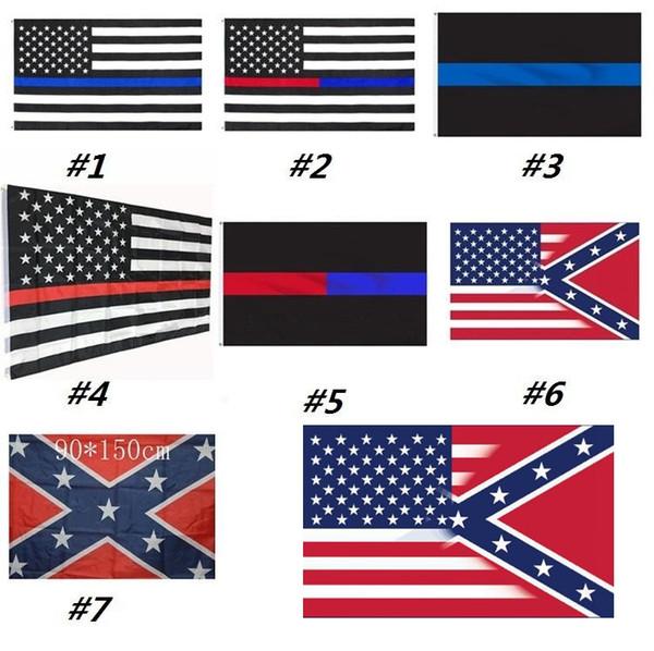 Blue Line USA Bandiere sottile linea rossa degli Stati Uniti Black Flag Bianco e banda blu bandiera americana con Brass Grommets MMA2501