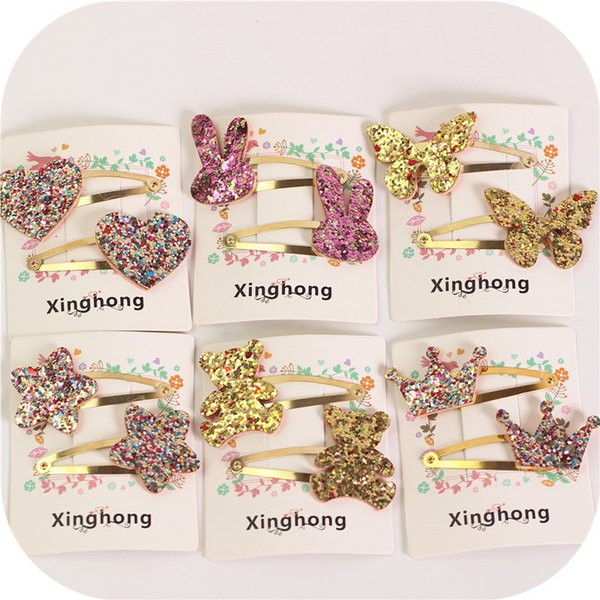 Children Headdress cute shiny paillette hair grip sets for butterfly crown heart star bear pattern clip ornaments hair