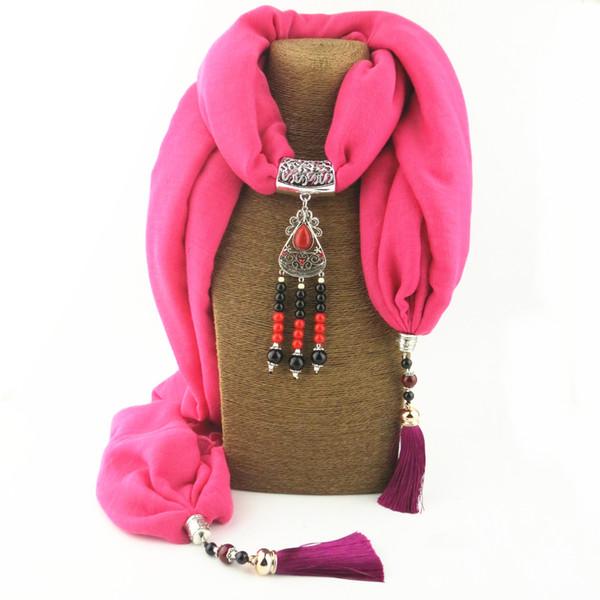 Fashion Women Jewel Necklace Scarf Charm Gem Pendant Jersey Scarves For Femme Noble Pendants Echarpe With Soft Tassels