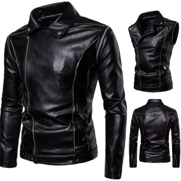 New Vintage Motorcycle Jacket Genuine Leather Turn-down Collar Classic Punk Biker Moto Jacket Slim Biking Riding Coat