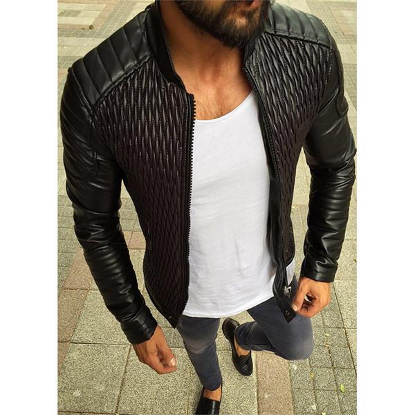 Automne Mens Designer Synthétique En Cuir De Mode Luxe Col Montant Vestes Casual Hommes Noir Vêtements de Dessus avec Zipper