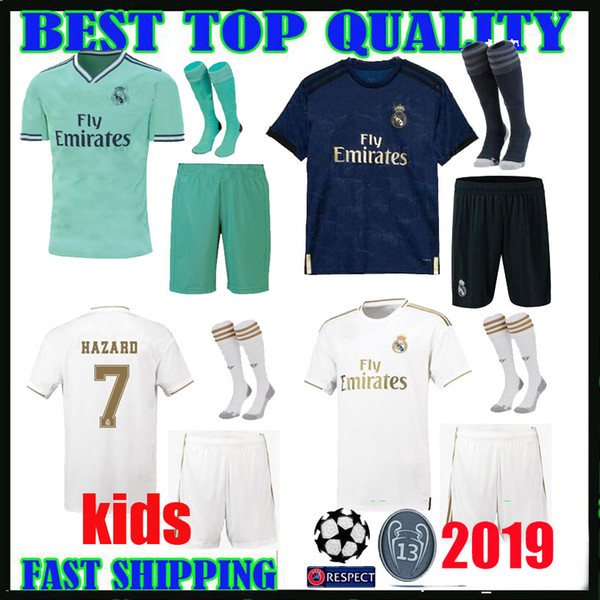 kids kit 19 20 Real madrid Soccer jerseys hazard THIRD home away 2019 2020 champions league BENZEMA Jovic ASENSIO camisetas FOOTBALL SHIRTS