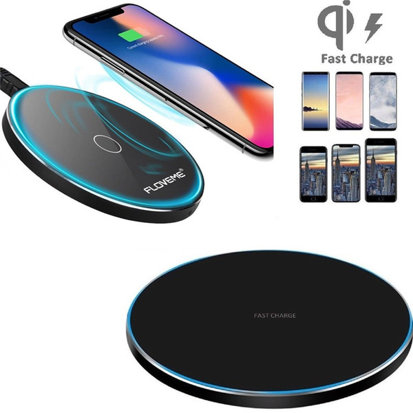 10W ultra sottile in metallo Qi caricabatterie pad caricabatterie veloce senza fili con display a led per iPhone 8 8 Plus X Samsung S9 S8 S6 S7