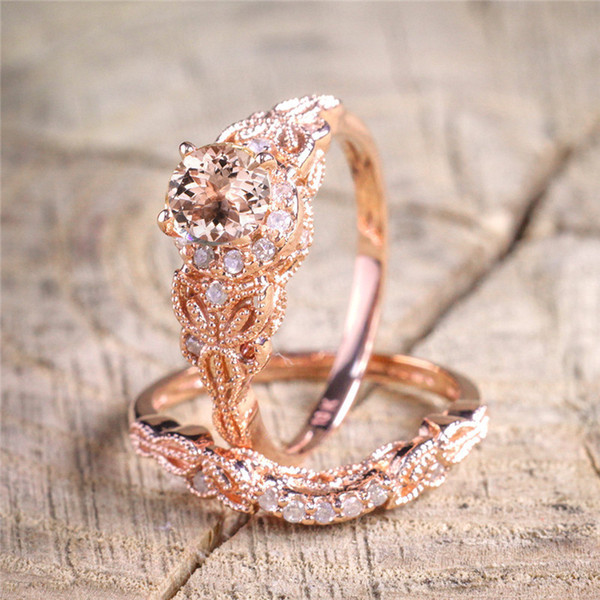 New Rose Gold Color Shining Zircon 2pcs Ring Sets For Women Girls Gifts Fashion Crystal Wedding Engagement Rings ZN