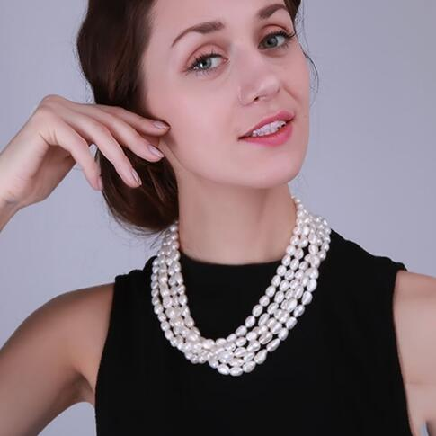Freshwater Cultured White Pearl Necklace 7.5*11mm Oval Shape Multi Row Wedding Party Necklace