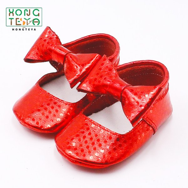 Genuine Leather Bling Princess Girls Shoes Newborn Toddler Bow Moccasins Soft Soled Baby Girls Shoes First Walker For 0-24M