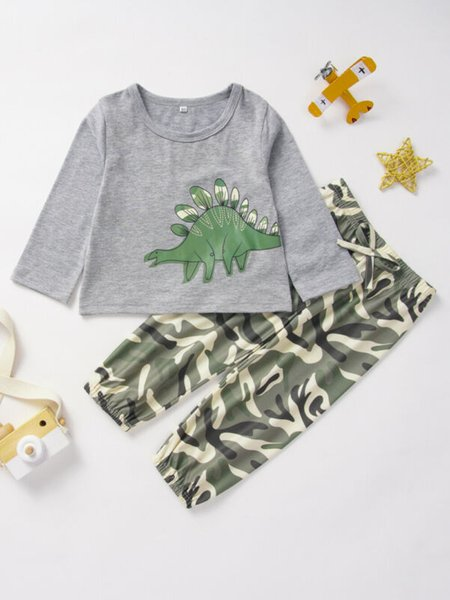 0-3y toddler baby boy girl clothes sets long sleeve pullover dinosaur t-shirt+camo pants outfits tracksuit thumbnail
