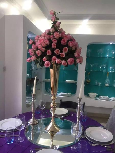 75 centimetri alto metallo portacandele in metallo stand fiori tromba vaso candelabro strada piombo candelabri centro pezzi decorazioni di nozze