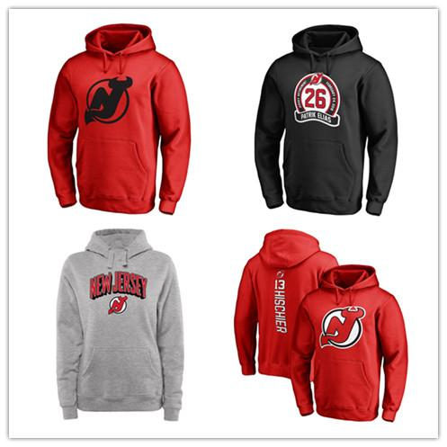 New Jersey Devils Hockey Hoody Branded Schwarz Asche Rot Grau Primär Pullover Herren Hoodies Langarm Outdoor Wear Jacken bedruckt Logos