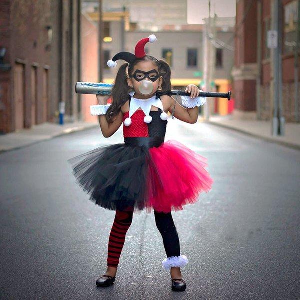 Harley Quinn vestido con tutú de las muchachas con la venda y la Máscara Joker Fantasía cumpleaños de los niños del partido del traje de Halloween de los niños vestido de fotos