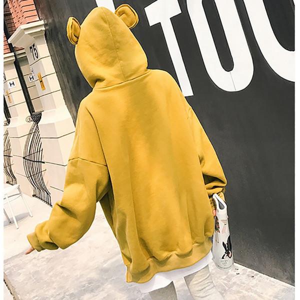 Women Fleece Hoodies Sweatshirts Fashion Bear Ears Hoodie Autumn Casual Loose Long Sleeve Pullover Women Fake Two-Piece Harajuku