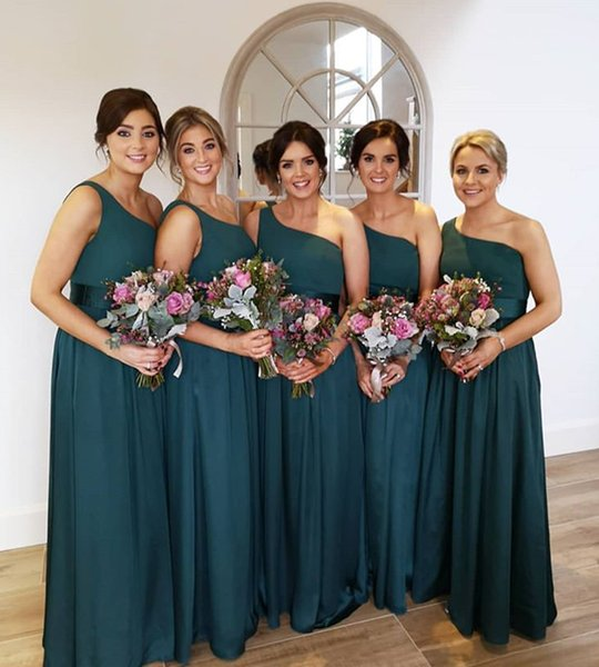 Dark Green Bridesmaid Dresses One Shoulder Chiffon Floor Length Wedding Guest Dresses Zipper Back Cheap Formal Maid of Honor Gown DB042