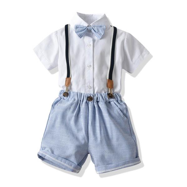 Ins New Summer ropa de diseño para niños, trajes para niños, trajes para niños, camisa a rayas y pantalones cortos para niños juegos para niños Ropa para niños, Ropa para niños A6066