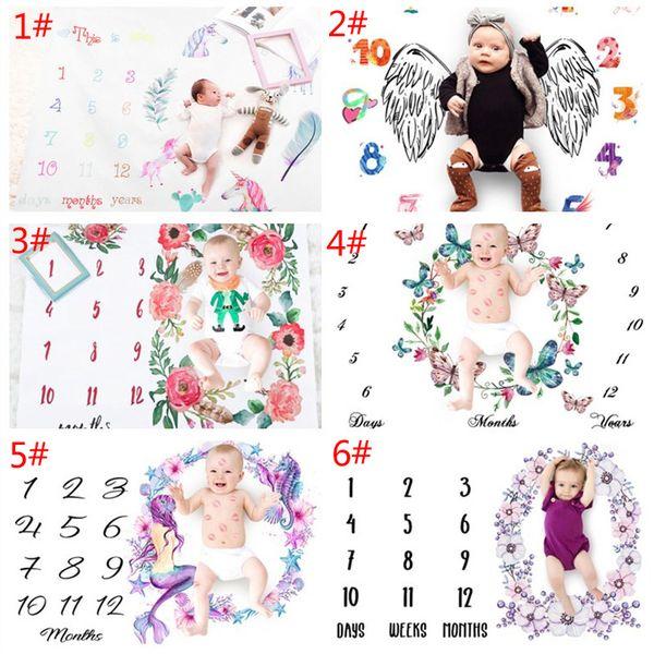 INS Cobertores Do Bebê Unicórnio De Algodão Foto Prop CoberturasInfante Swaddling Carta Flor Digital Do Bebê Saco De Dormir 100 * 100 cm 6 Estilos