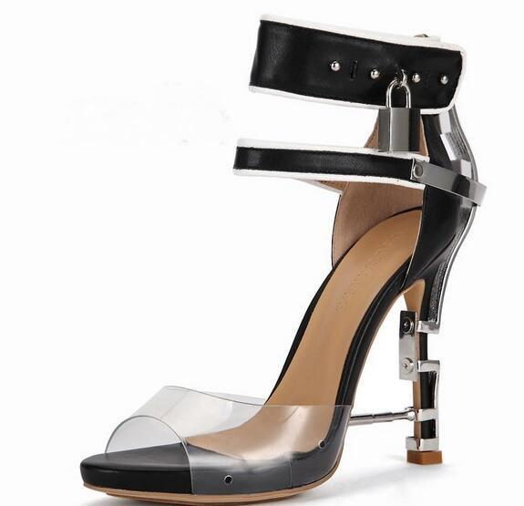 fashion Women Lock-and-buckle transparent diamond High-heeled Shoes Sandals 2019 Summer New Metal Sandals Leather trendy Women's Shoes