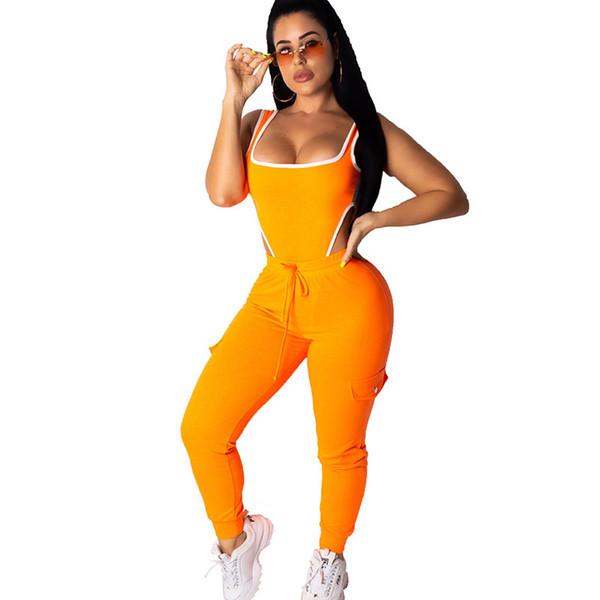 Neon Verde Laranja Sexy 2 Peça Set Mulheres Sweat Suit Bodysuit Romper Bodysuit Top + Pant Club Outfits Conjuntos de Combinação