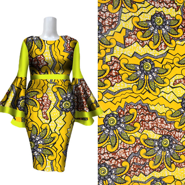 best selling Latest Bright Yellow Flower Pattern Batick Bazin Riche African Fabric African Wax Prints Fabric new Wax fabric