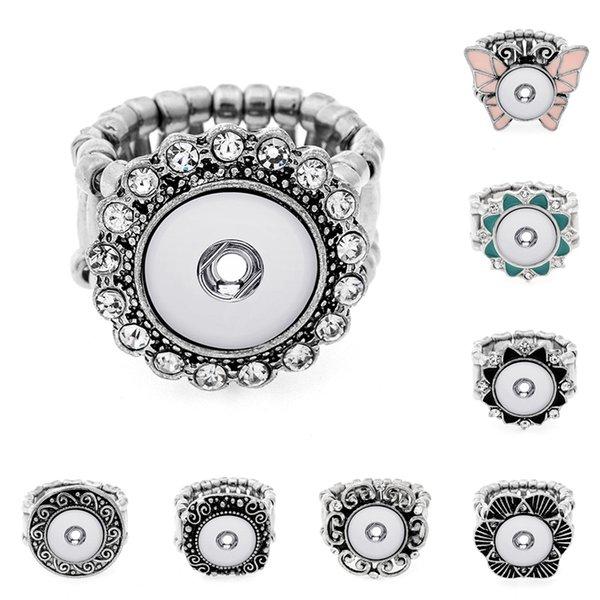 Mode Chunk Snap Button Anneaux Noosa 12 MM En Métal Cristal Interchangeabale Ginger Snaps Réglable Élastique Anneaux Pour Les Femmes Hommes DIY Bijoux
