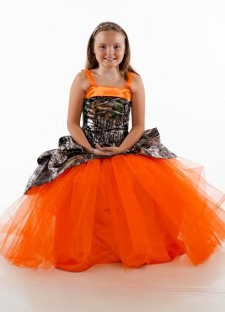 Mignon Orange Camouflage Court 2019 Pas Cher Fleur Filles Robes Pour Mariage balle Pas Cher robe Ruch Fille Pageant Prom Formelle Première Communion Robe
