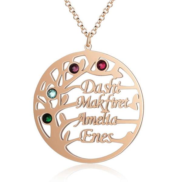 Nome personalizzati collane delicata gioielli ciondolo Albero Incidere 4 Nomi Pietre Famiglia Promessa anniversario regalo per le donne