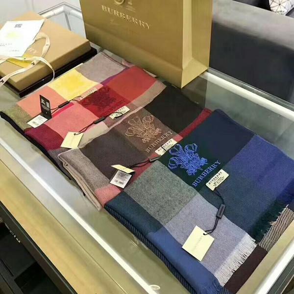 Classic brand woollen scarf fashionable embroidery crown pattern woollen scarf luxury designer scarf wholesale