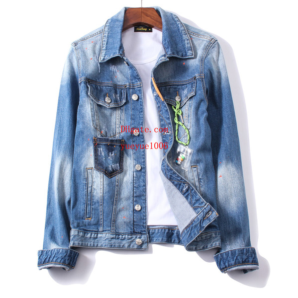 Großhandel Herren 2019 Marke Kleidung Jacke Jeansjacke Revers Blau Jeans Straße Lässig Mantel Mode Beliebte Buchstaben Kleidung Herren Kleidung JK 37