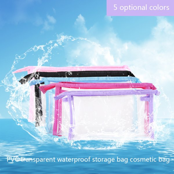 Transparent Cosmetic Bag For Make Up Plastic Travel Cosmetic Makeup Toiletry Storage Bag Zipper 23*6*13cm C18112801