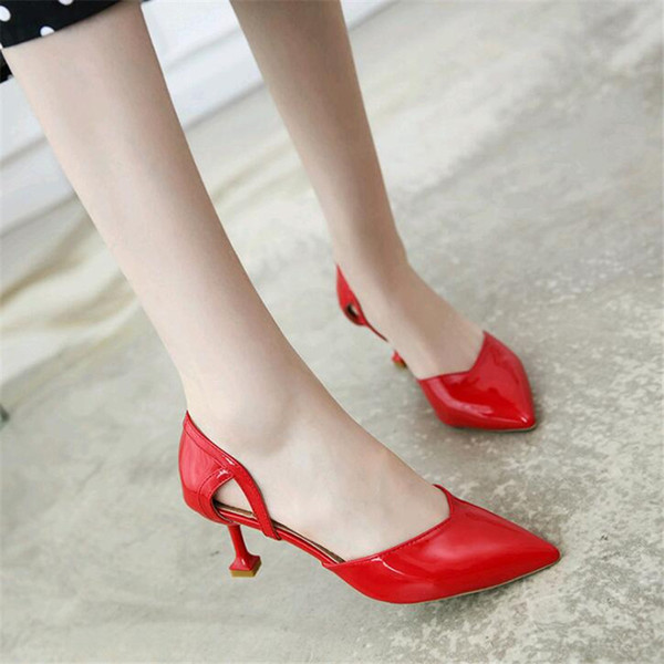 Dress Shoes Patent Leather Pumps Female Low Heels Women Professional Ladies Shallow Mouth Work Black White Office