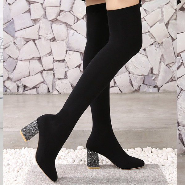 Stretch Fabric Over The Knee Boots Women Sexy Square Toe Thigh High Boots Black Ladies High Heels Shoes Sock Boots