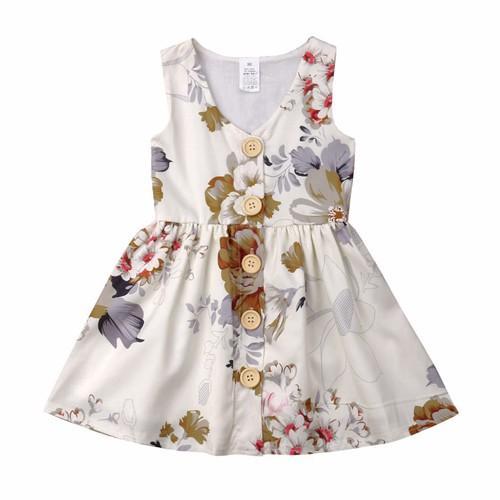 2019 baby girl abiti estivi fiore ragazze abiti bambini boutique abbigliamento floreale abito senza maniche pulsante abito vintage little girls vestiti