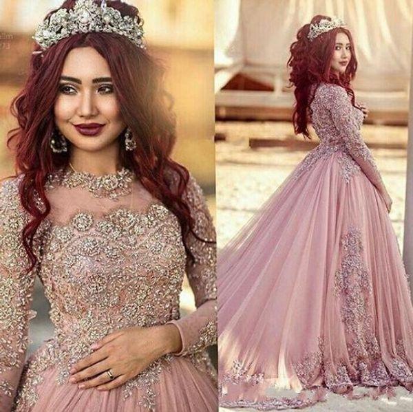2019 Vestido de bola árabe caliente Mangas largas Vestidos de noche Vestidos musulmanes de baile con cuentas de cristal Alfombra roja Vestidos de fiesta de pasarela personalizados