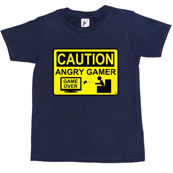 Caution Angry Gamer - Warning Sign Game Over Lost Kids Boys T-Shirt Brand shirts jeans Print Classic Quality High t-shirt