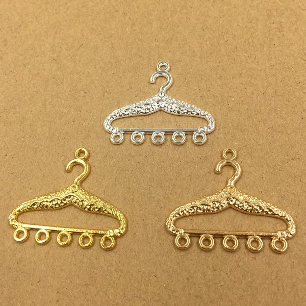 50pcs 35*30mm Gold Silver clothes hanger charms metal pendants Alloy DIY Jewelry Accessories Headwear Hair Jewelry Handicraft Material