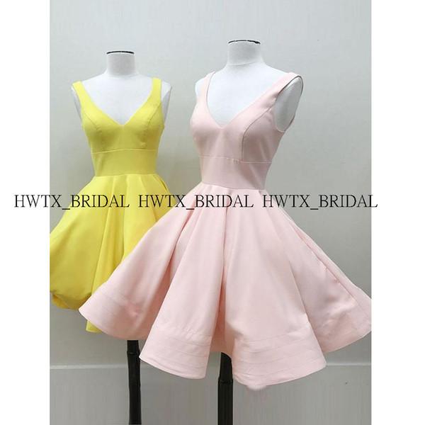 Cute Pink Short Prom Dresses 2019 New Sleeveless V-neck Yellow Satin Mini Girls Homecoming Party Dress Gown Vestidos de fiesta
