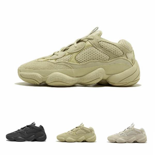 2019 Yeni Tuz Dalga Koşucu 500 Allık Çöl Sıçan 500 Süper Ay Sarı Koşu Ayakkabıları Kanye West Erkek Kadın Sneaker Spor Ayakkabı