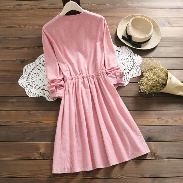 Compre Japonés Mori Chica Primavera Otoño Vestido De Las Mujeres De La Raya Floral Bordado De La Cuerda Vestidos De Algodón De Lino Elegante Vestido