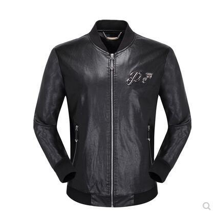 Wholesale- 2018 Winter Leather Jacket Men Turn-down Collar Jaqueta De Couro Masculina PU Mens Leather Jackets Skull Punk Veste Cuir Homme 01