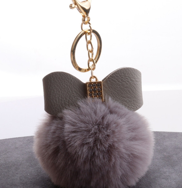 HYS270 16COLORS PU с бриллиантовым бантом имитация Rex кролика мяч брелок роскошные сумки кулон 100 шт. / лот DHL