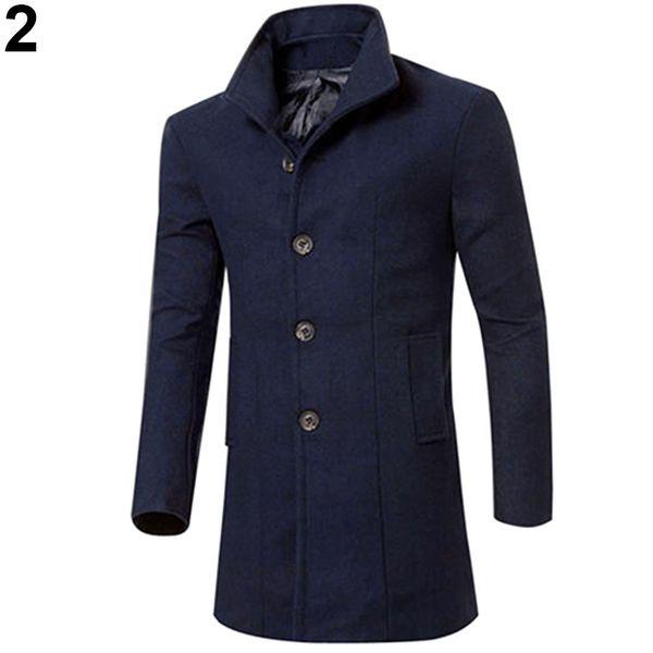 China Estilo Moda Masculina Slim Fit Longo Trench Coat Blusão Jaqueta Botão Lapela Outwear