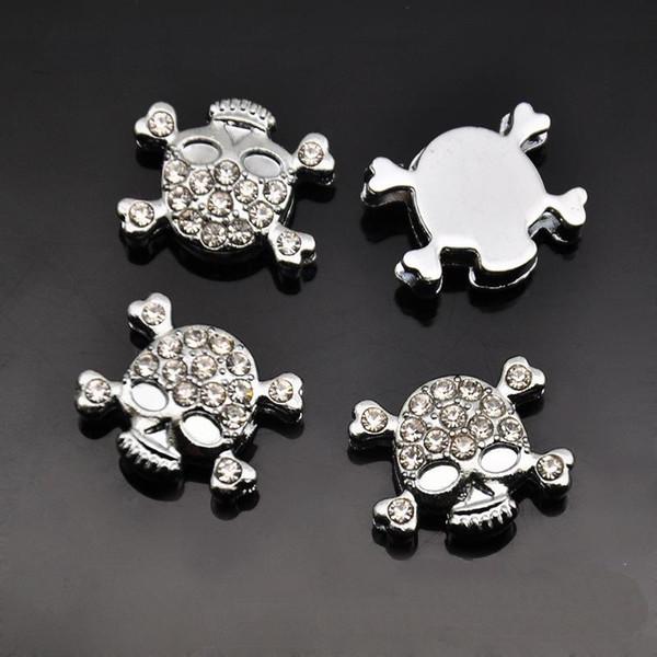 10PCS 8MM Full Rhinestone Skull Slide Charms Beads Fit 8mm Pet Name Strips Belts Bracelets Wristbands