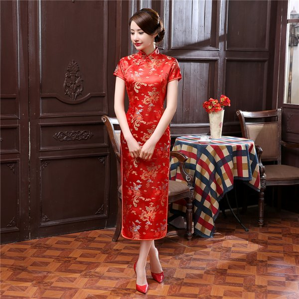 Chinese Traditional Dress For Women Tight Bodycon Cheongsam Dress Tang Suit Dragon&phoenix Print Split Dress Sexy Qipao 17 Color
