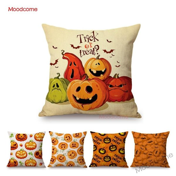 Cute Comic Cartoon Halloween Pumpkin Face Decoration Throw Pillow Car Pillow Case Trick or Treat Funda de cojín de sofá de lino de algodón