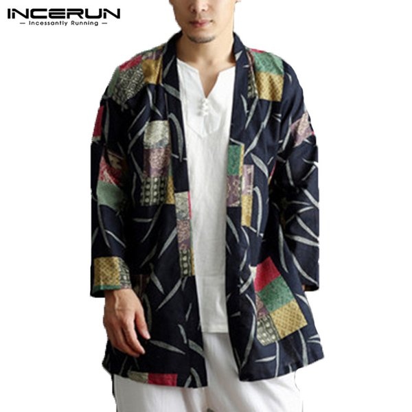INCERUN Chinese Style Men Trench Coat Printed Long Sleeve Ethnic Cotton Pockets Outerwear Men Cardigan Jackets Cloak Plus Size