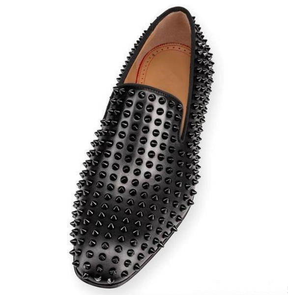 Dandelion Spikes Flats Red Bottoms Casual Shoes Veau Velours Descending Smooth Chic Staple Off-duty Sliver/Gold Rivets Men Loafers Shoes