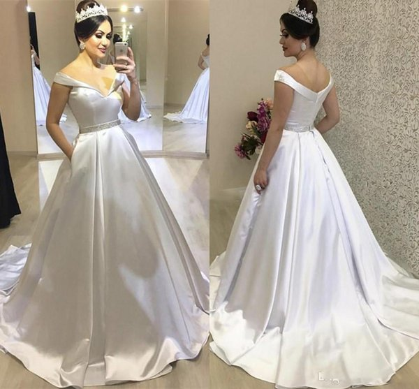 Arabric Wedding Dresses Off Shoulder Sweep Train Pockets Bridal Gowns Plus Size Church Castle Chapel Vestidoe De Noiva Custom