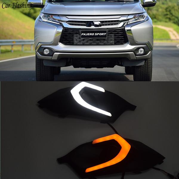 Toptan 2 adet LED DRL Gündüz Koşu Işık Günışığı Sinyal lambası araba Mitsubishi Pajero Sport 2016 2017 Için Styling ışıkları