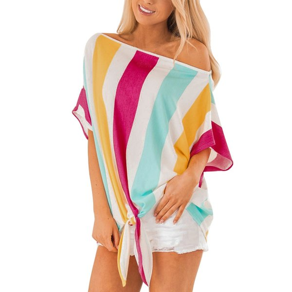 Été manches courtes femmes Chemises en vrac Blouses multicolore d'impression à rayures 2019 Vêtements Nouveau Femmes Casual Blouse Bow Tops