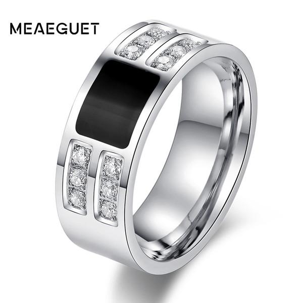 ashion Anillos de joyería Meaeguet Classic Hombre Acero inoxidable Cristal Cubic Zirconia Compromiso Anillo de bodas Plata pulida alta Sto ...