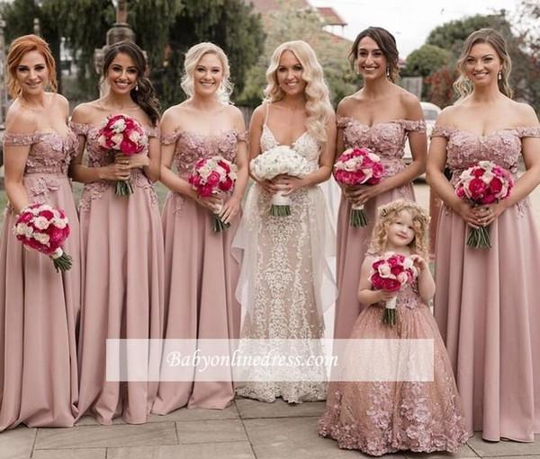 Compre 2019 Vestidos De Dama De Honor Color Rosa Polvorientos Elegantes Fuera Del Hombro Apliques De Encaje Hasta El Suelo Vestidos De Fiesta Para