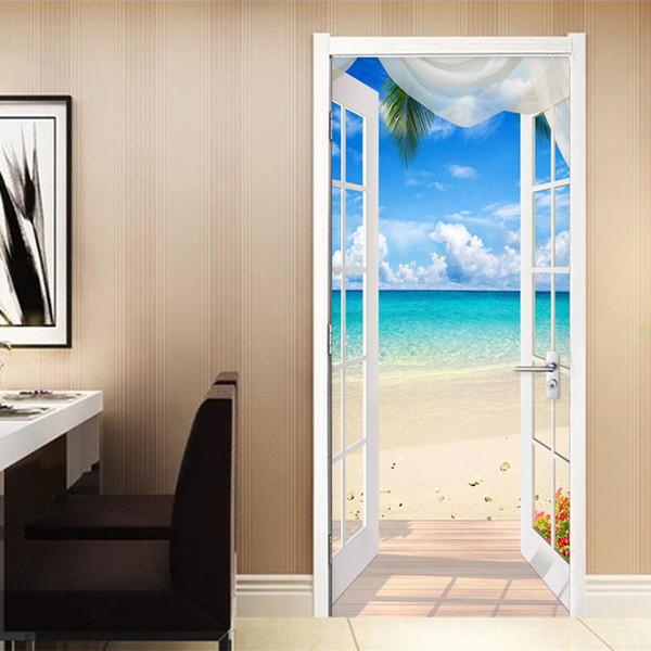 PVC selbstklebende Tür Aufkleber Fenster Sandstrand Seelandschaft 3d Fototapete Wandbild Wohnzimmer Schlafzimmer Tür Dekoration Aufkleber T8190702